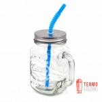 Банка с ручкой Mason Jar для напитков 330 мл Синяя трубка