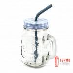Банка с ручкой Mason Jar PLAID для напитков 330 мл Мята