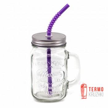 Банка с ручкой Mason Jar для напитков 330 мл Фиолетовая трубка