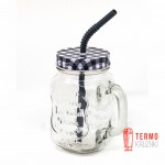 Банка с ручкой Mason Jar PLAID для напитков 330 мл Серый