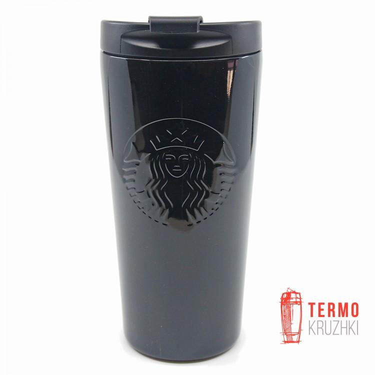 Термокружка Starbucks Etched Tumbler Stainless Steel Siren Logo, 473 мл, Black