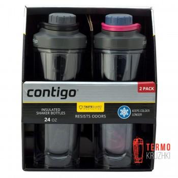 Набор из двух шейкеров Contigo Insulated Shaker Bottles 710 мл, черный, темно-синий