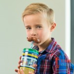 Стакан детский с трубочкой Сontigo Funny Straw 470 мл Electric Blue Mustache