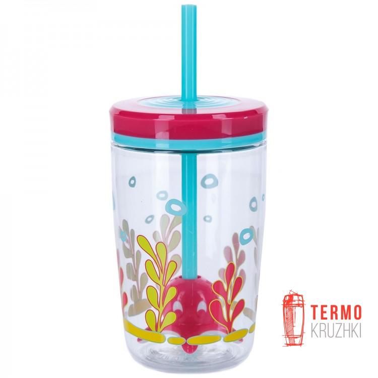 Стакан детский с трубочкой Contigo Funny Straw Tumbler 470 мл Розовый