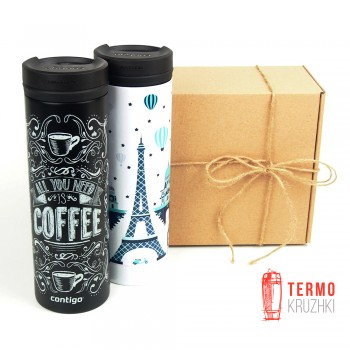 Набор термокружек Для него и для нее Contigo TwistSeal Eclipse 591ml Black Coffee & White Paris