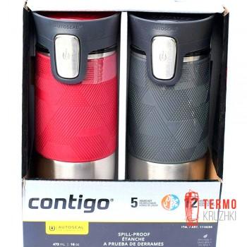 Подарочный набор для него и для нее из двух термокружек Contigo Montana Autoseal, Pinot Noir & Gray 0.47 ml