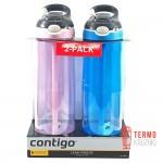 Подарочный набор для него и нее из двух бутылок для воды Contigo Autospout Ashland 709 ml, Electric Blue &  Pink