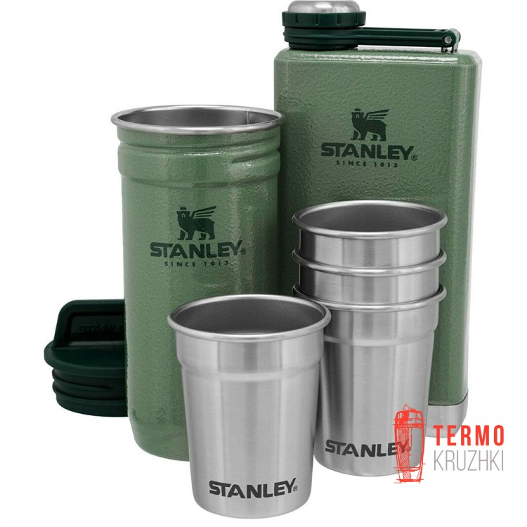 Набор Stanley Adventure Hammertone Green: 2 фляги и 4 рюмки