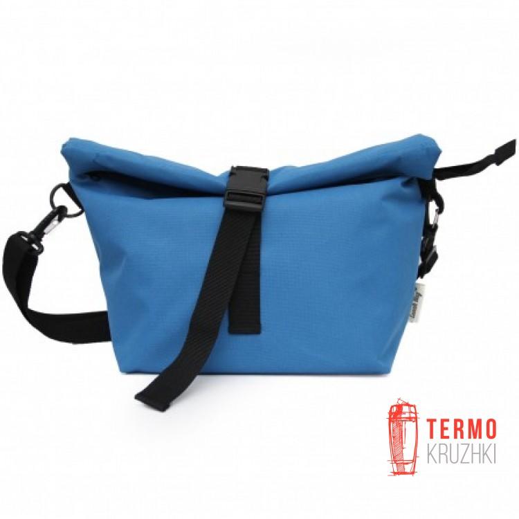 Lunch bag XL с длинным ремнем голубой