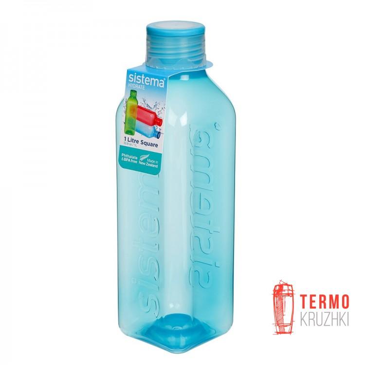 Бутылка для воды квадратная Sistema Hydrate 1 л голубой