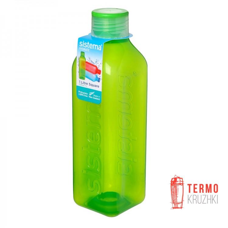 Бутылка для воды квадратная Sistema Hydrate 1 л зеленый