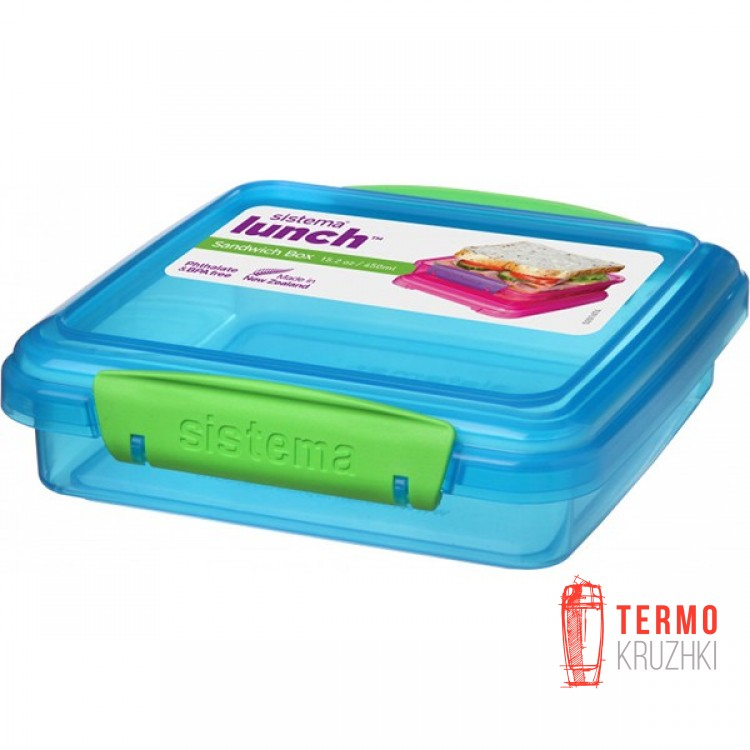 Ланч-бокс для сэндвичей Sistema Lunch 0.45 л голубой