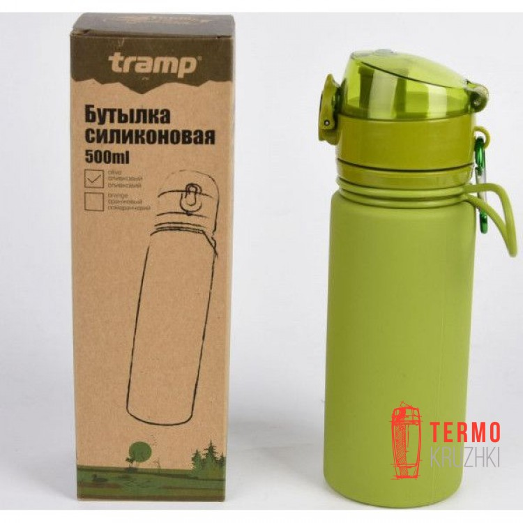 Бутылка силиконовая Tramp 500 мл olive