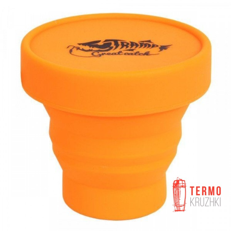 Cкладной cтакан  силиконовый с крышкой Tramp 180ml orange