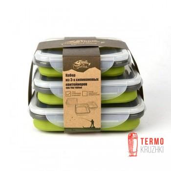 Набор из 3х силиконовых контейнеров Tramp (400/700/1000ml) olive