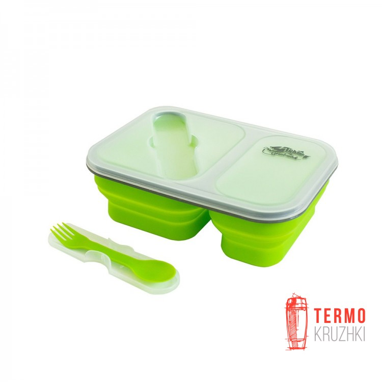 Контейнер силиконовый на 2 отсека Tramp (900ml) с ловилкой olive