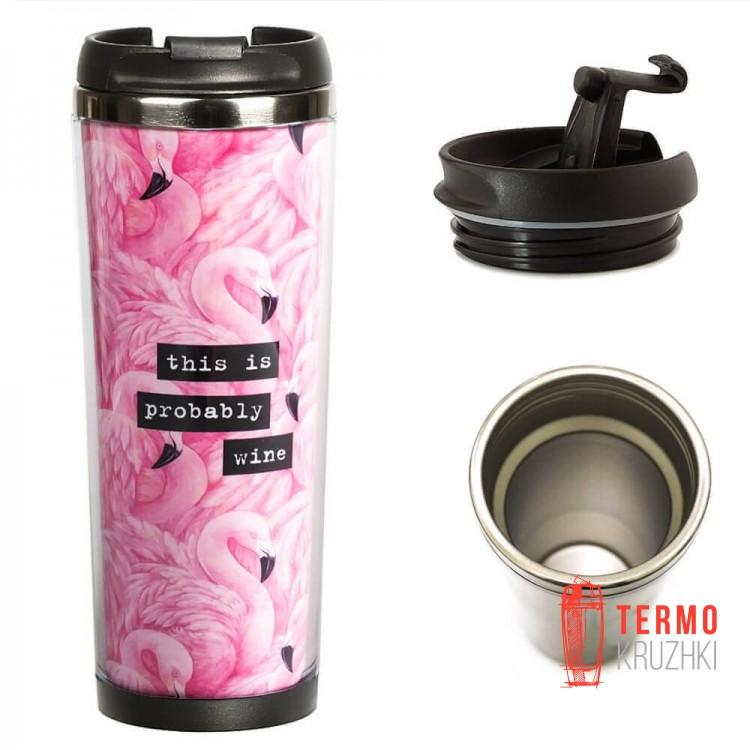 Термокружка ZIZ 380 ml Фламинго