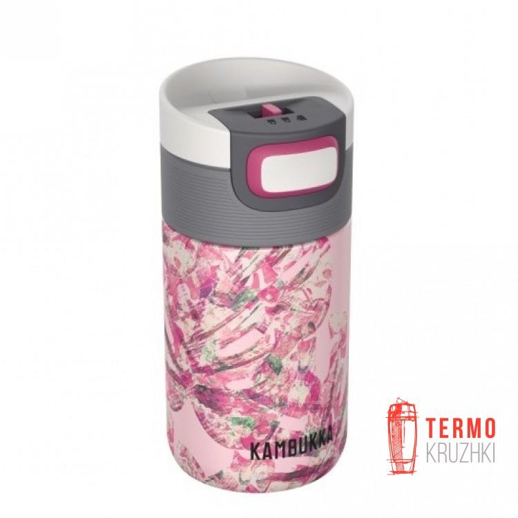 Термокружка Kambukka Etna 300 мл Monstera Leaves розовая 11-01019