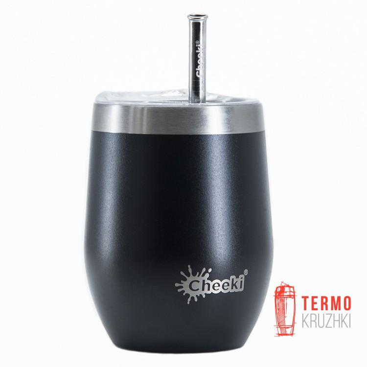 Бокал для напитков Cheeki со стальной трубочкой 320ml Insulated Wine Tumbler Rich Black