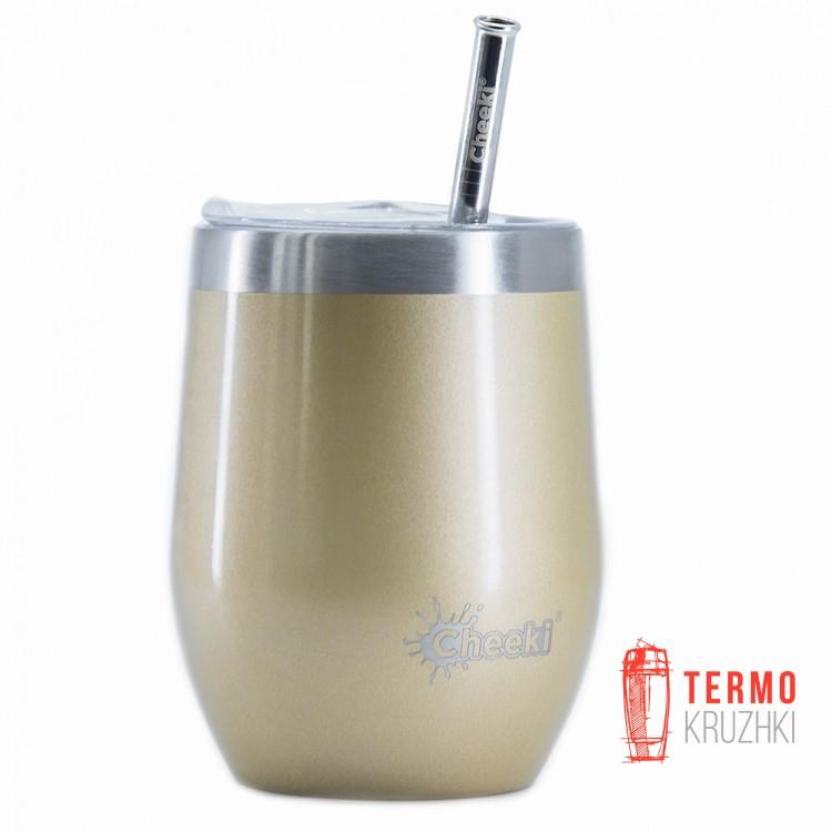 Бокал для напитков Cheeki со стальной трубочкой 320ml Insulated Wine Tumbler Soft Gold