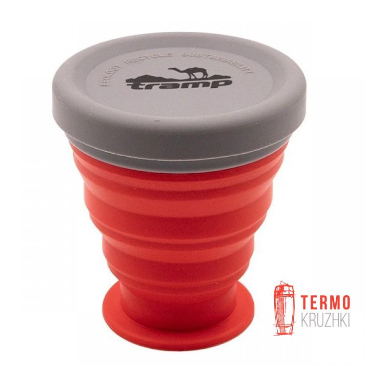 Стакан складной силиконовый Tramp с крышкой 200 ml terracota